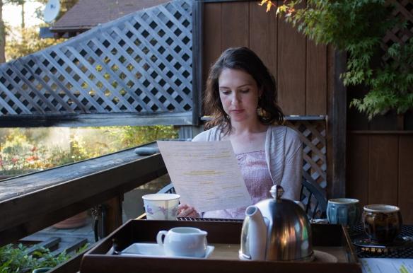 Virginia studying Osprey Peak's extensive breakfast menu