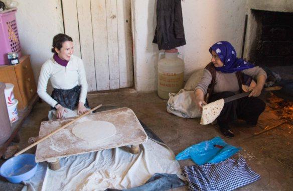 Baking bread with Ayten, Gollu Village, Turkey